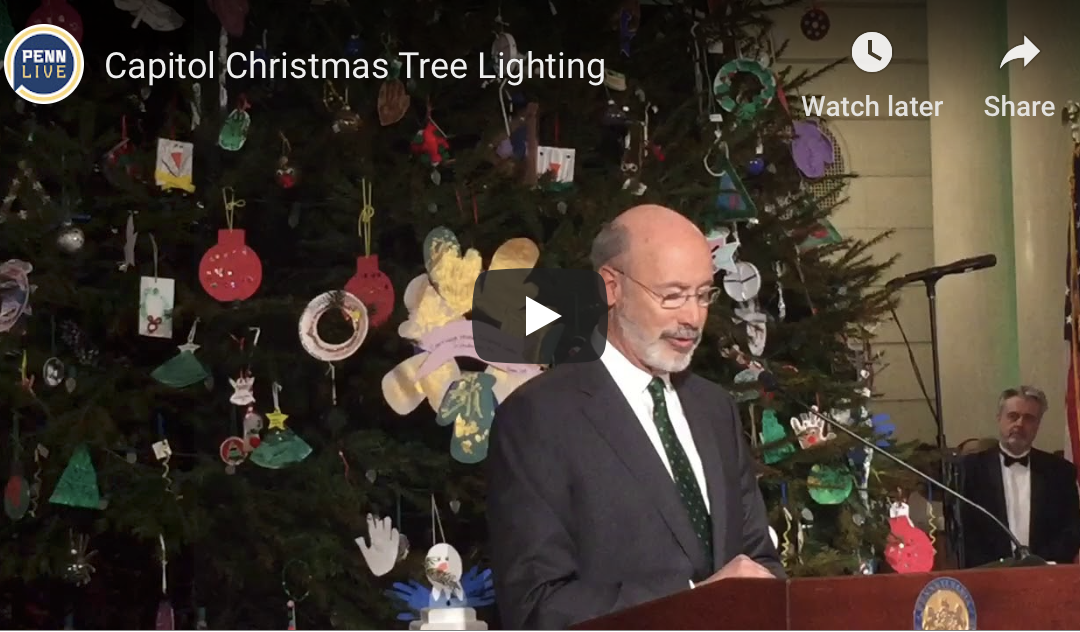 Pre-K Kids Adorn PA Capitol Christmas Tree with Hand-crafted Ornaments, Join Gov. Wolf at Tree-Lighting Ceremony